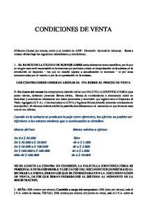 CONDICIONES DE VENTA