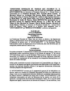 CONDICIONES GENERALES DE TRABAJO QUE CELEBRAN EL H. AYUNTAMIENTO CONSTITUCIONAL DE AUTLAN DE NAVARRO, JALISCO (AYUNTAMIENTO)