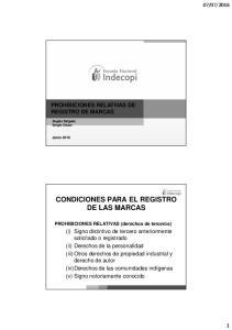 CONDICIONES PARA EL REGISTRO DE LAS MARCAS