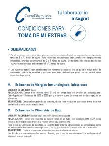 CONDICIONES PARA TOMA DE MUESTRAS