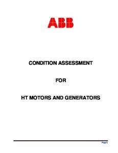 CONDITION ASSESSMENT FOR HT MOTORS AND GENERATORS