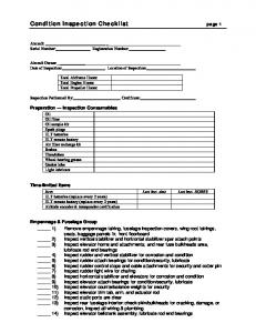 Condition Inspection Checklist page 1