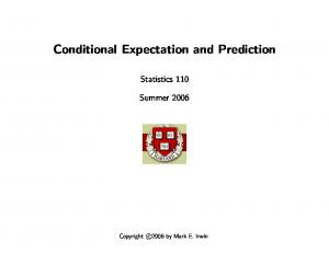 Conditional Expectation and Prediction