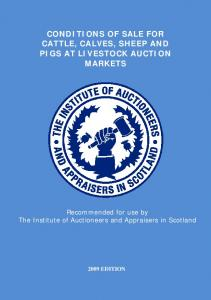CONDITIONS OF SALE FOR CATTLE, CALVES, SHEEP AND PIGS AT LIVESTOCK AUCTION MARKETS