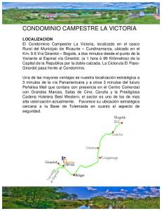 CONDOMINIO CAMPESTRE LA VICTORIA