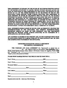 CONDOMINIUM PURCHASE AND SALE AGREEMENT THE CORTEZ, A CONDOMINIUM