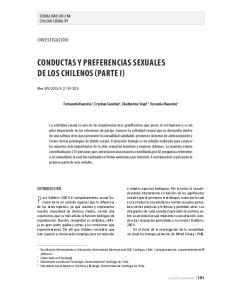Conductas y preferencias sexuales de los chilenos (parte i)