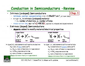 Conduction in Semiconductors -Review
