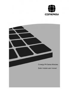 Conergy PH Series Modules. Solar module user manual