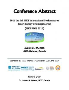 Conference Abstract the 4th IEEE International Conference on Smart Energy Grid Engineering (IEEE SEGE 2016)
