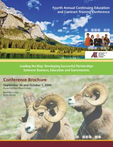 Conference Brochure. Fourth Annual Continuing Education and Contract Training Conference