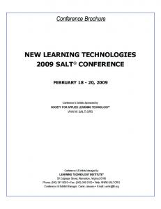 Conference Brochure NEW LEARNING TECHNOLOGIES 2009 SALT CONFERENCE