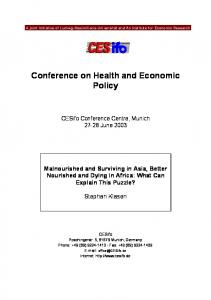 Conference on Health and Economic Policy
