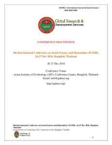 CONFERENCE PROCEEDINGS. 9th International Conference on Social Science and Humanities (ICSSH), Dec 2016, Bangkok, Thailand