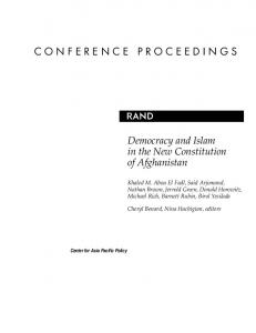 CONFERENCE PROCEEDINGS. Democracy and Islam in the New Constitution of Afghanistan