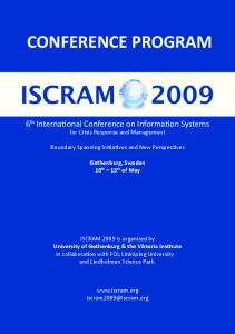 CONFERENCE PROGRAM. 6 th International Conference on Information Systems for Crisis Response and Management