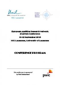 CONFERENCE PROGRAM. European Auditing Research Network (EARNet) Conference September 2015 HEC Lausanne, University of Lausanne