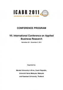 CONFERENCE PROGRAM. VII. International Conference on Applied Business Research