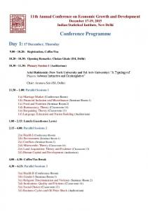 Conference Programme. Day 1: 17 December, Thursday