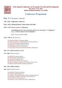 Conference Programme. Day 1: 17 December, Thursday