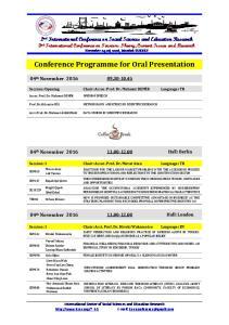 Conference Programme for Oral Presentation