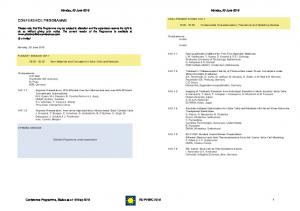 CONFERENCE PROGRAMME. Monday, 20 June Monday, 20 June 2016 ORAL PRESENTATIONS 1AO.1