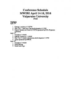 Conference Schedule MWDSI April 14-16, 2016 Valparaiso University (Final)