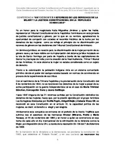 CONFERENCIA ANTECEDENTES H ISTORICOS DE LOS DERECHOS DE LA MUJER Y LA JUSTICIA CONSTITUCIONAL EN LA REPUBLICA DOMINICANA