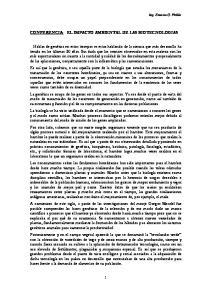 CONFERENCIA: EL IMPACTO AMBIENTAL DE LAS BIOTECNOLOGIAS