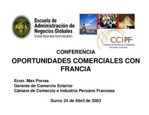 CONFERENCIA OPORTUNIDADES COMERCIALES CON FRANCIA