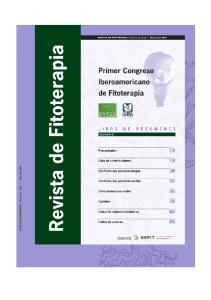 CONFERENCIAS PLENARIAS CORTAS I CONGRESO IBEROAMERICANO DE FITOTERAPIA. Fuente: