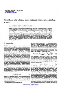 Confidence intervals and other statistical intervals in metrology