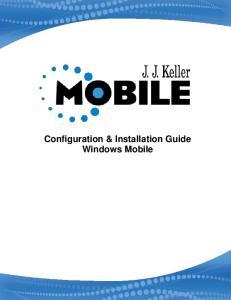 Configuration & Installation Guide Windows Mobile