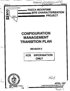 CONFIGURATION MANAGEMENT TRANSITION PLAN