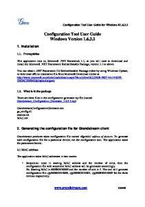 Configuration Tool User Guide Windows Version