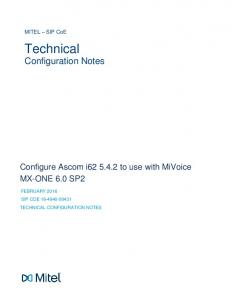 Configure Ascom i to use with MiVoice MX-ONE 6.0 SP2 FEBRUARY 2016 SIP COE TECHNICAL CONFIGURATION NOTES