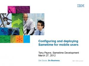 Configuring and deploying Sametime for mobile users