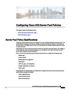 Configuring Cisco UCS Server Pool Policies