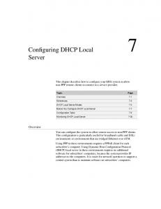 Configuring DHCP Local Server