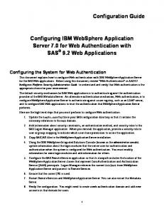 Configuring IBM WebSphere Application Server 7.0 for Web Authentication with SAS 9.2 Web Applications