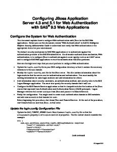 Configuring JBoss Application Server 4.3 and 5.1 for Web Authentication with SAS 9.3 Web Applications