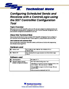 Configuring Scheduled Sends and Receives with a ControlLogix using the SST ControlNet Configuration Tool