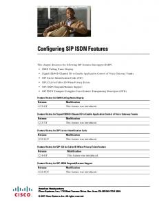 Configuring SIP ISDN Features