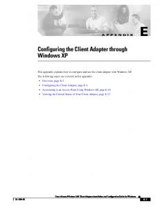 Configuring the Client Adapter through Windows XP