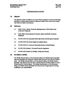 CONFINED SPACE ENTRY. 2.1 DOE O 440.1, Worker Protection Management for DOE Federal and Contractor Employees