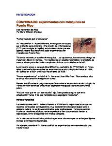 CONFIRMADO: experimentos con mosquitos en Puerto Rico