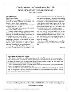 Confirmation A Commitment for Life LEADER S GUIDE FOR GRADES