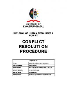 CONFLICT RESOLUTION PROCEDURES