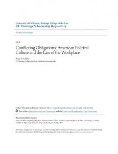 Conflicting Obligations: American Political Culture and the Law of the Workplace