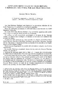 CONFLICTO REINO UNIDO DE GRAN BRETANA Y REPÚBLICA ARGENTINA POR LAS ISLAS MALVINAS